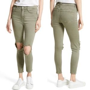 Free People Busted Knee Jeans Skinny Mid Rise